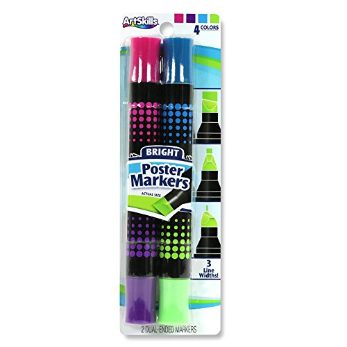 ArtSkills Washable Extra Thick, Double-Sided, Poster Markers, Fashion Assorted Colors, 2 Markers, 4 Colors: Pink, Purple, Green, Blue