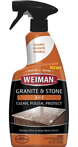 Granite Stone Clean, Polish and Protect - 24 Ounce - Streak-Free, pH Neutral Formula for Daily Use on Interior and Exterior Natural Stone
