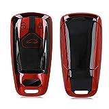 kwmobile Funda para Mando Compatible con Audi Llave de Coche Smartkey de 3 Botones (Solo Keyless Go) - Funda TPU Llave con Botones de Llave de Auto - Rojo Brillante