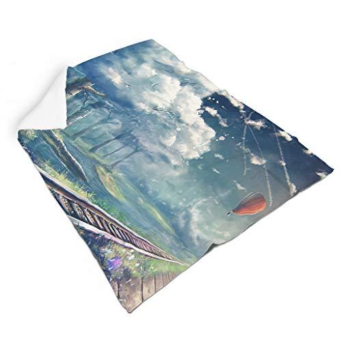 Magiböes Globo de aire caliente de franela, diseño de tren, paisaje, étnico, decoración del hogar, decoración de interiores, blanco, 110 x 140 cm