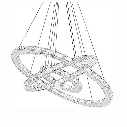 CUICAN Modern LED 72W Kristall Pendelleuchte,3 Ring Verstellbarer Kreativ Design Dekoration Kronleuchter,Luxus Deckenleuchte Für Esszimmer Flur Trichromatisches Dimmen 20+40+60cm