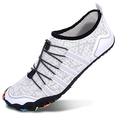 L-RUN Mens Water Shoes for Aqua Sports Pool Beach White Women 14.5, Men 12.5 M US