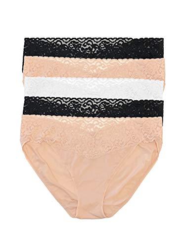 Felina Super Stretchy Bikini Underwear For Women - Lace Trim Ladies Panties (5-Pack)