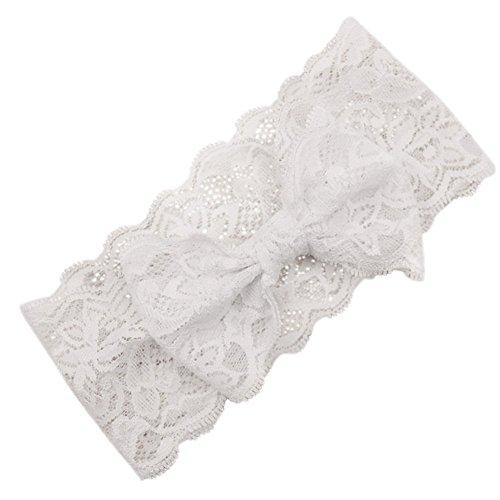 Sanwood pour enfant bébé fille en dentelle avec nœud Bandeau Bandeau blanc taille unique