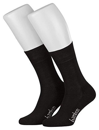 Tobeni 3 Paar Damen Herren Bambus Socken Frotteesohle ohne Gummi Unisex Farbe Schwarz Grösse 43-46