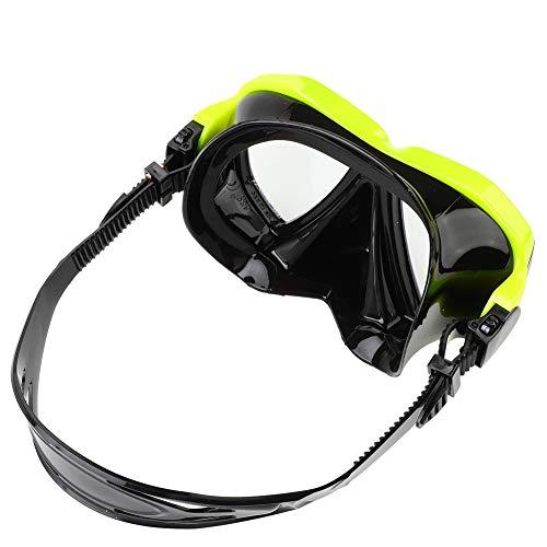 Máscara de buceo simple, color amarillo y negro, 17,5 x 10,5 x 7 cm, sistema de parada de agua de 42 x 12 cm, con gel de sílice licuado y PC y PVC y vidrio templado