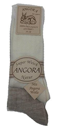 Mum 2 Paar ANGORA SOCKEN Damen+Herren 60prozent Wolle, 15prozent Angora, 25prozent Polyamid super weich (35-38, Weiß-Beige)