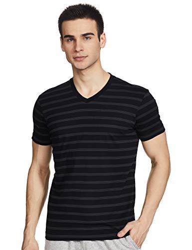 Jockey Men's Striped Regular fit T-Shirt (AM51_Graphite & Black M)