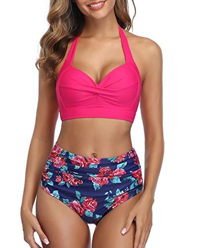 Tempt Me Women's Vintage Swimsuits Rose Red Retro Halter Ruched High Waist Bikini L