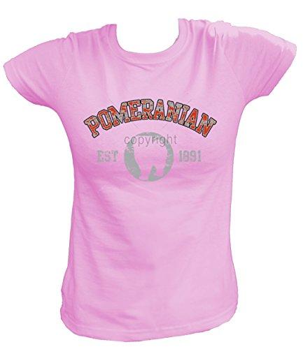 Artdiktat Damen T-Shirt - Pomeranian Zwergspitz - Old School Est. 1891 Größe L, rosa