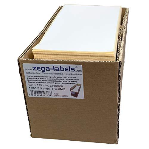 zega-labels Thermo Etiketten 103 x 199 mm - für DHL Versandetiketten - 1.000 Stück je Karton - endlos leporello gelegt - stark haftend - Druckverfahren: Thermodirekt (ohne Farbband) - Versandaufkleber