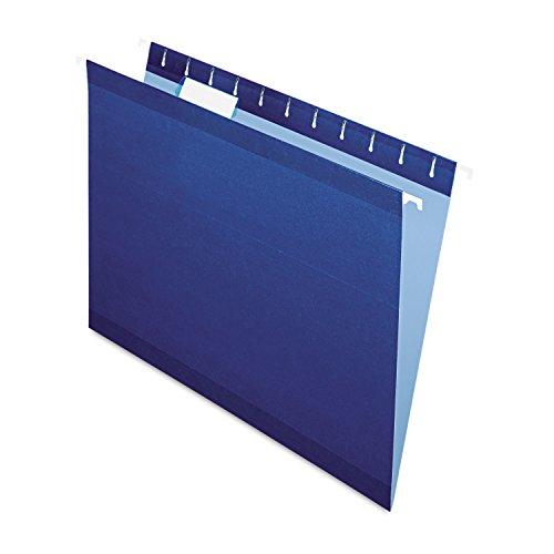 Pendaflex Reinforced Hanging File Folders, Letter Size, Navy, 1/5 Cut, 25/BX (4152 1/5 NAV)