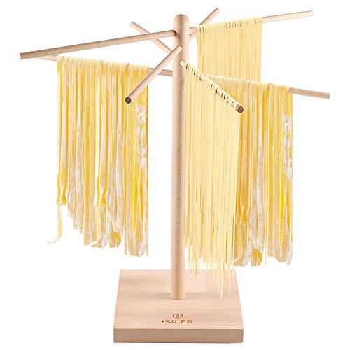 iSiLER Nudeltrockner aus natürlichem Buchenholz, Nudel- und Spaghetti-Trockner mit 4 verzweigten, abnehmbaren Armen für bis zu 1,8 kg Pastateig