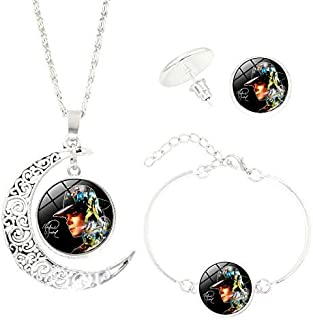 Necklace Bracelet Stud Earrings Jewelry Three-Piece Accessories Michael Jackson Time Gem Women Alloy Fashion