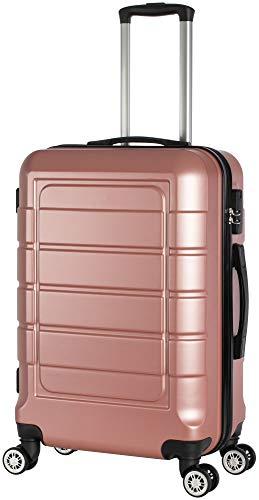 Cahoon - Hartschalen-Koffer Trolley Handgepäck Reisekoffer Kofferset 4 Rollen M-L-XL-Set 201 (Rose-Gold, Mittelgroßer Koffer)