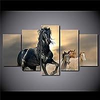壁アート画像キャンバス絵画ポスターフレームHDプリント5ボード黒と茶色の馬現代家の装飾リビングルーム,No+frame,S
