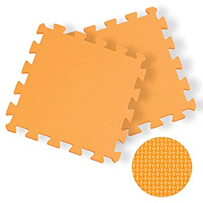Dasuy Extra Thick Exercise Mat Home Flooring Puzzle Foam Mats Yoga Gym Gymnastic Cushioned Workout Floor Interlocking EVA Mats (16 Tiles) (Orange, 16pcs)