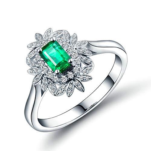 Daesar Anillo Oro Blanco 18 Kilates Mujer,Hojas con Rectángulo Esmeralda Verde 0.7ct Diamante 0.25ct,Plata Verde Talla 20