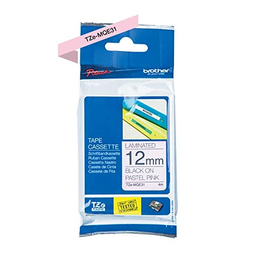 Brother Original P-Touch cinta laminada Tze de mqf3112mm, color negro, color rosa pastel 12 mm