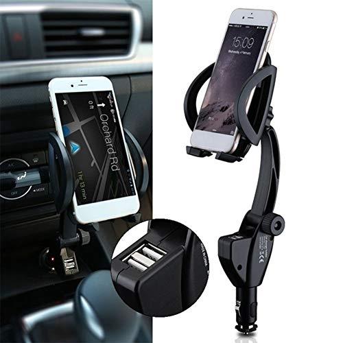 NAttnJf - Soporte Universal 2 en 1 para Cargador de Coche, Soporte para teléfono móvil con Doble USB para iPhone XS MAX XR X 8/7/6/6 S Plus Samsung Galaxy S5/S6/S7/S8/S9 Nota 9 8