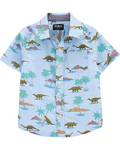 OshKosh B'Gosh boys Woven Buttonfront Button Down Shirt, Dino Print, 4T US