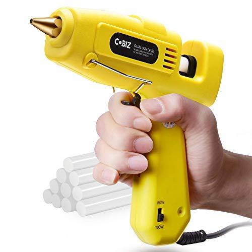 Heißklebepistole, Cobiz Klebepistole mit 60/100w Zweileistung, Heissklebepistole mit 10 pcs Klebesticks 11 mm für DIY und Reparatur (60/100w) (Gelb)
