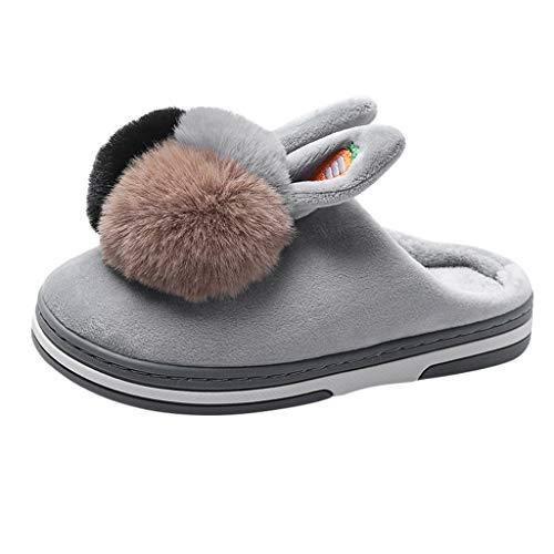 Anliyou süß Hausschuhe Damen Plüsch Pantoffeln Mädchen Flanell Bommel warm kuschelig plüsch Slippers Hauspantoffeln mit rutschfest Hausschlappen Winter