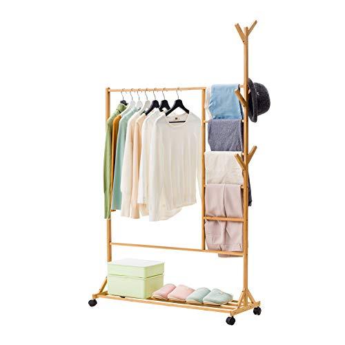 NAFE Coat Racks, Floor coat rack, bamboe broek rack kleding rek slaapkamer massief hout opknoping kleding opslag huis opslag schoen rack