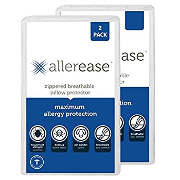 Aller-Ease Maximum Allergy Pillow Protector Standard/Queen-2 Pack White
