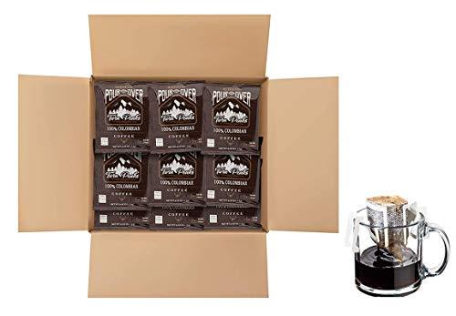 Twin Peaks Premium 100% All Natural Single-Serve Pour Over Colombian Arabica Coffee, Non GMO, 100 Pouches