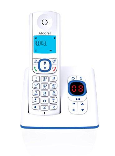 Alcatel F530 Voice - Téléphone sans fil DECT aux coloris contemporains, Répondeur intégré, Mains libres, Ecran rétroéclairé, Sonneries VIP, 10 mélodies d'appel - Blanc/Bleu