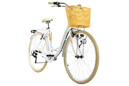 KS Cycling Damenfahrrad 28'' Cantaloupe weiß mit Korb Dacapo RH48cm