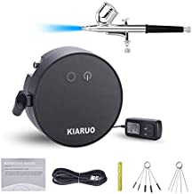 KIARUO Double-Action Airbrush Kit, Three-Stage air Pressure Adjustment Mini Air Compressor with Airbrush Cleaning Kit for Make up Art Painting Models Coloring Tattoo Cake Decorating Nail Beauty