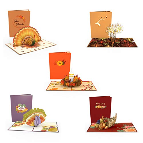 Lovepop Thanksgiving Pop Up Cards - 5 Pack, Pop Up Thanksgiving Cards, 3D Turkey Card, Fall Thank You Cards, 3D Thanksgiving Cards, Fall Greeting Cards