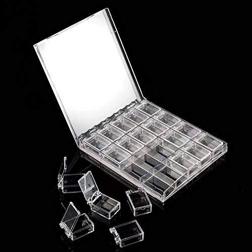 Boîte De Grilles Boîte De Strass 20 Grilles Transparent Acrylique Nail Art Décorations Boîte De Stockage Perles En Strass Conteneur