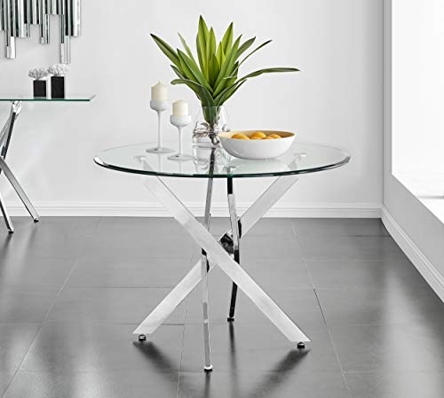 Novara 100cm Modern Round Chrome Metal And Clear Glass Dining Table And 4 Luxury Stylish Pesaro Velvet and Black Leg Dining Chairs Set (Dining Table Only)