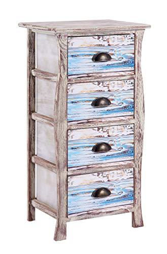 ts-ideen Kommode Schrank Shabby Used Optik Nachttisch 4 Schubladen Metallgriffe 77 x 40 cm