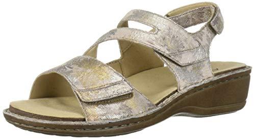 Aravon womens Cambridge 3 Strap Wedge Sandal, Silver Flora, 10 Narrow US