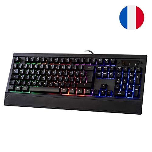 LYCANDER Gaming Keyboard France, Wired Keyboard - 19 anti-ghosting keys, 1.8m cable, rainbow backlight - LKB8154FR