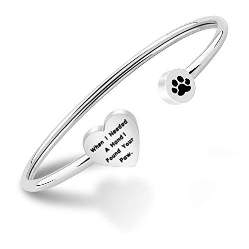 Collana con ciondolo a forma di zampa di cane con ciondolo a forma di cuore infinito e st, colore: Argento, cod. NA