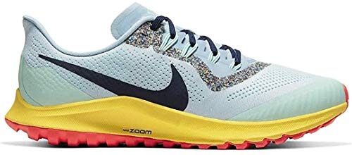Nike Herren AIR Zoom Pegasus 36 Trail Laufschuh, Aura/Blackened Blue/Lt Armory Blue/Mint Foam/Speed Yellow/Laser Crimson, 44 EU