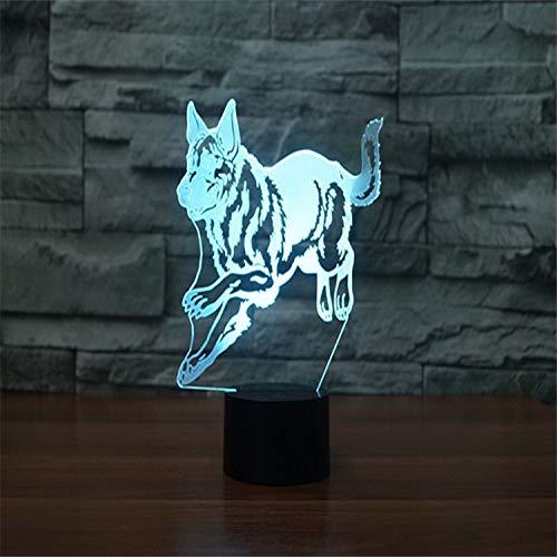 Lámpara LED 3D / Cambio de 7 colores/Interruptor táctil USB/Lámpara de ambiente interior/Amigos Juguetes y regalos para niños Arte y manualidades ideales/Pastor alemán Running Dog