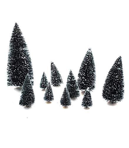Eminza Lot DE 10 sapins Verts Enneigés pour Village de Noël