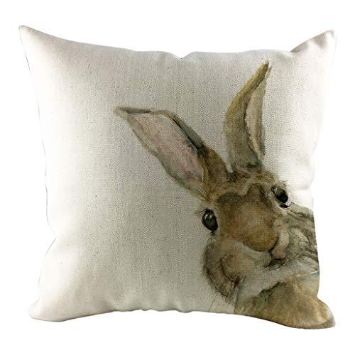 LEEDY Happy Rabbit Easter Cojín Simple Sofá Cama Decoración para el Hogar Festival Conejo Funda de Almohada