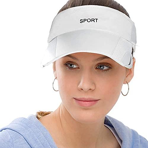 Men Women Sun Protection Sports Visor Hats Summer Wide Brim Adjustable Golf Tennis White