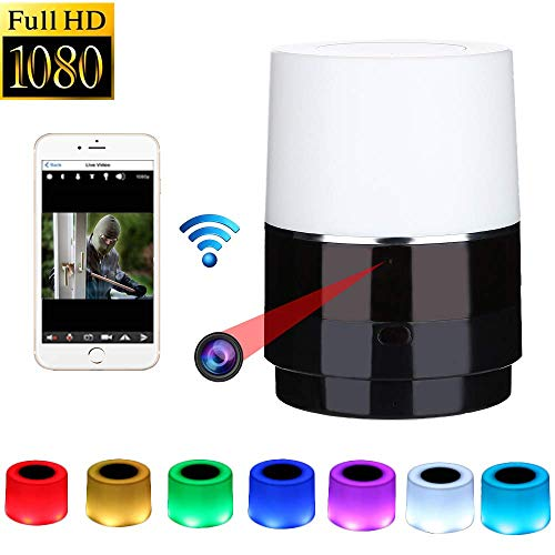 Luz Nocturna Oculta de la cámara - Cámara espía Lente de 160 ° Girar a la Izquierda/Derecha WiFi 1080P HD Visión Nocturna Inalámbrica Mini cámara Grabador de Video Detección de Movimiento Nanny CAM
