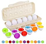 Hhyn Matching Eggs Set with Beige Eggs Holder, Upgraded Toddler Egg Toys Learning Shapes and Colors Educational Puzzle Sorting Games Improve Motor Skills for Kids Easter Gift, 12 Eggs