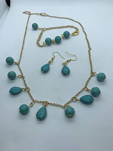 Blue jade necklace bracelet and earrings jewellery set, handmade by Susan Craker