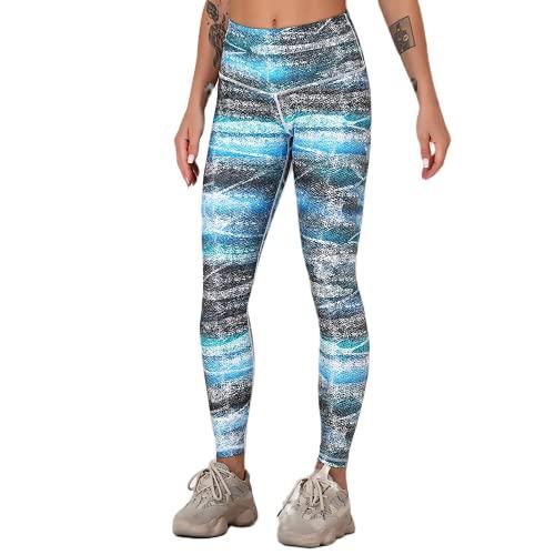 QTJY Pantalones de Yoga Estampados de Cintura Alta sin Costuras, Pantalones de Entrenamiento para Correr, Mallas elásticas de Secado rápido D Medium
