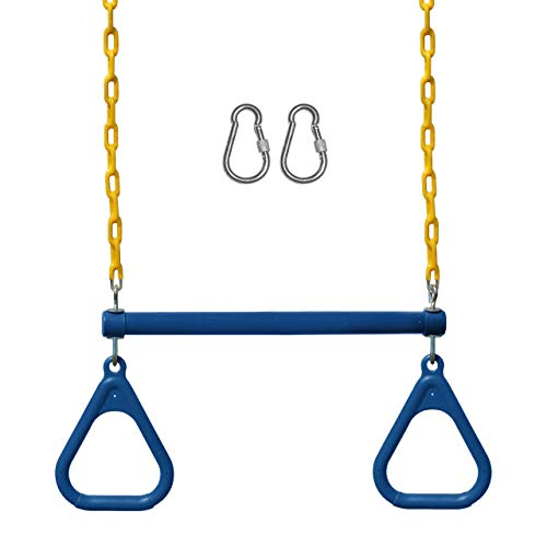 """Jungle Gym Kingdom Swing Sets for Backyard, Monkey Bars & Swingset Accessories - Set Includes 18"""" Trapeze Swing Bar & 48"""" Heavy Duty Chain with Locking Carabiners - Outdoor Play Equipment (Blue)"""
